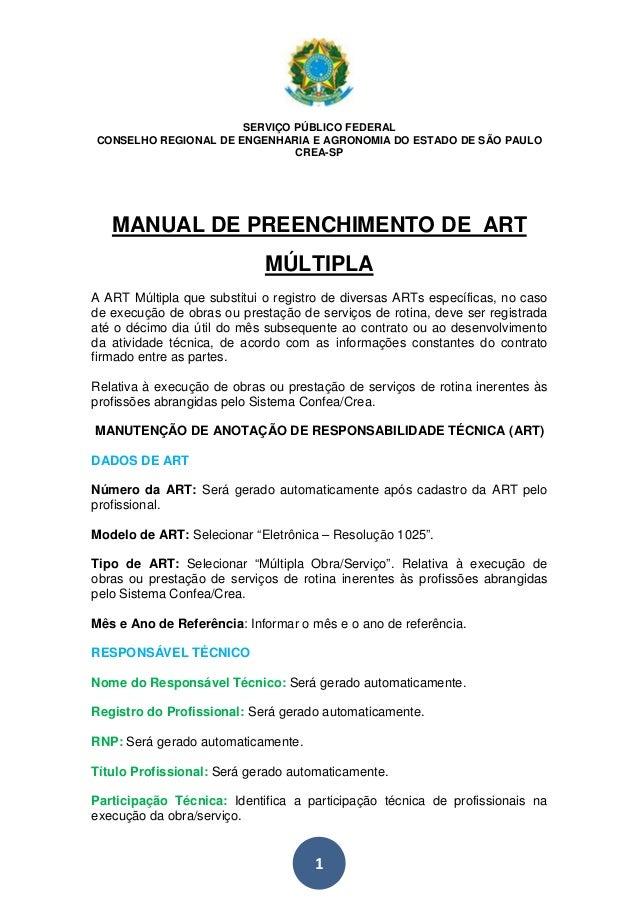 SERVIÇO PÚBLICO FEDERAL  CONSELHO REGIONAL DE ENGENHARIA E AGRONOMIA DO ESTADO DE SÃO PAULO  CREA-SP  MANUAL DE PREENCHIME...