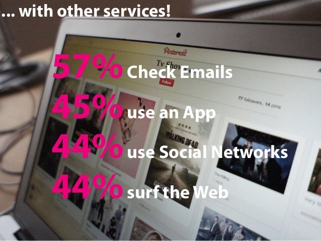 ... with other services!  57% Check Emails 45% use an App 44% use Social Networks 44% surf the Web