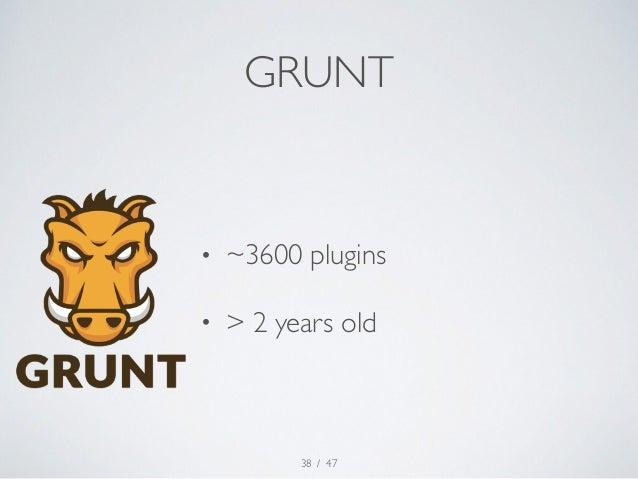 GRUNT  • ~3600 plugins  • > 2 years old  / 47  38