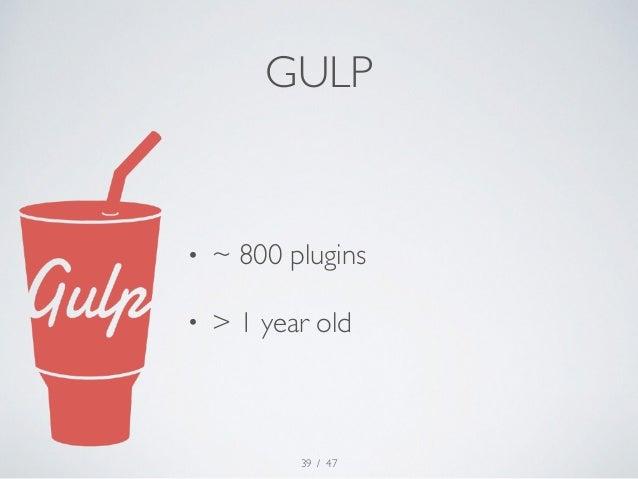 GULP  • ~ 800 plugins  • > 1 year old  / 47  39