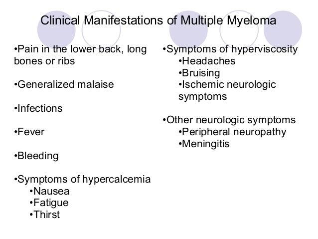 Do symptoms of myeloma cause pain?