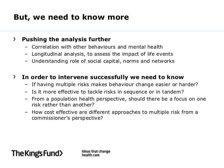But, we need to know more Pushing the analysis further  – Correlation with other behaviours and mental health  – Longitudi...