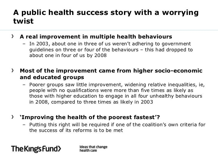 A public health success story with a worryingtwist A real improvement in multiple health behaviours  – In 2003, about one ...