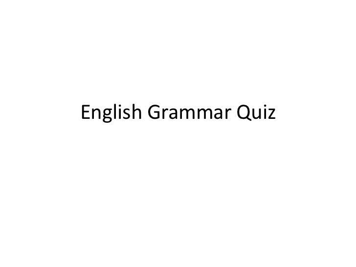 Multiple Choice English Grammar Quiz
