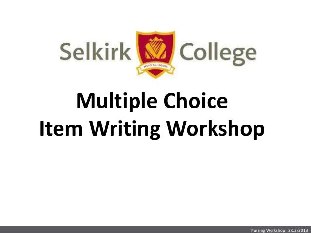 MC Item Writing Workshop
