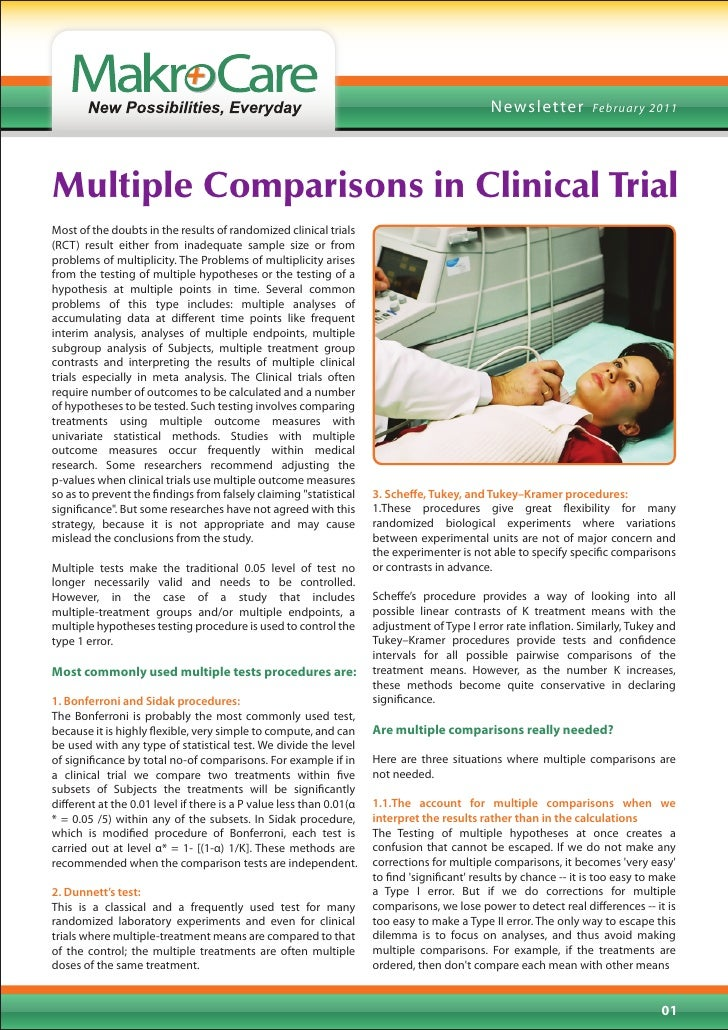 News letter           Februar y 2011Multiple Comparisons in Clinical TrialMost of the doubts in the results of randomized ...