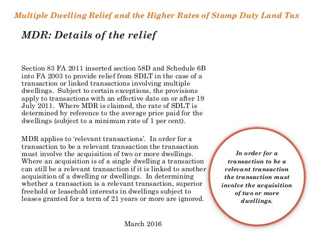 Multiple Dwellings Relief >> Multiple Dwellings Relief & Higher Rates of SDLT (March 2016)