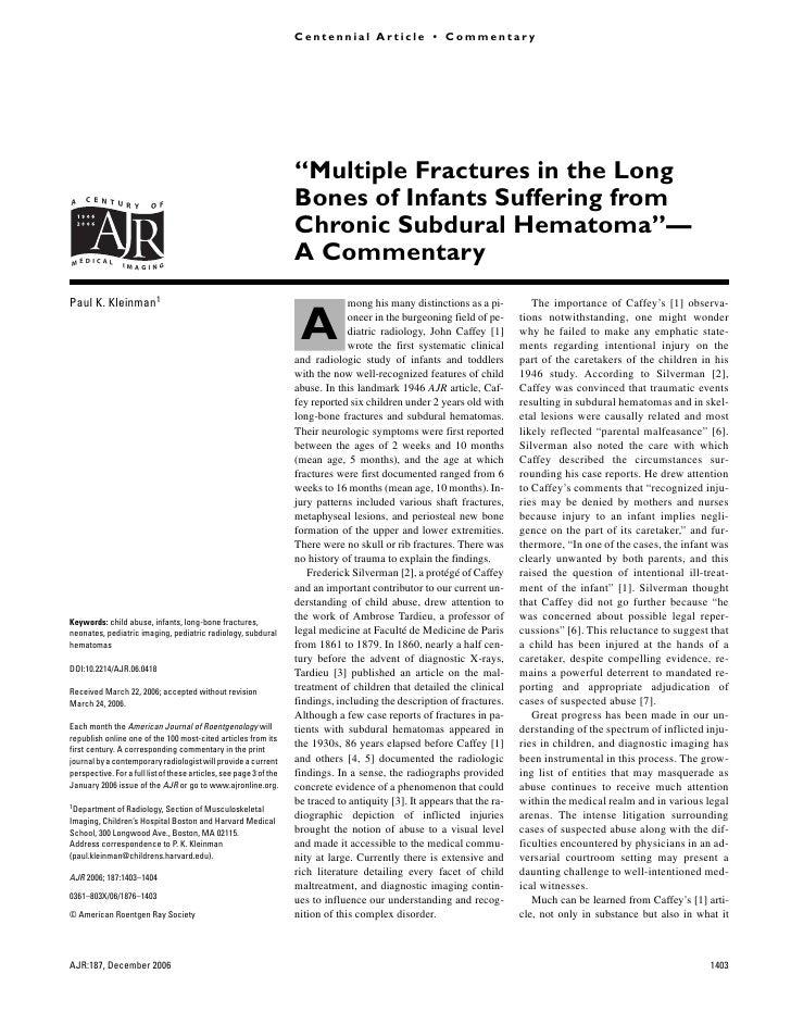 Kleinman                                                                       Centennial Article • Commentary Fractures a...