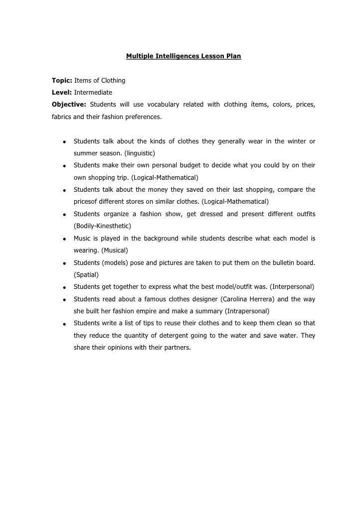 Multiple Intelligences Lesson Plan<br />Topic: Items of Clothing<br />Level: Intermediate<br />Objective: Students will us...