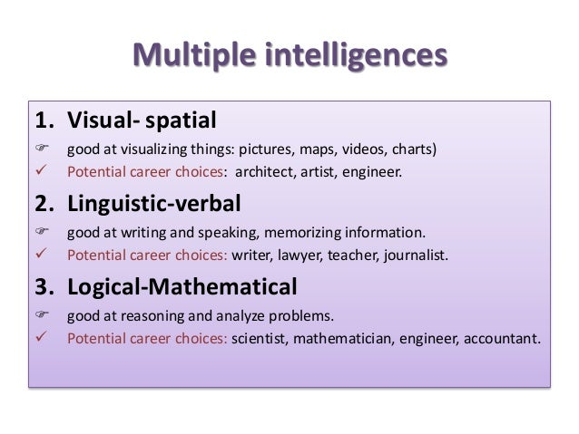 Multiple intelligences 1. Visual- spatial  good at visualizing things: pictures, maps, videos, charts)  Potential career...