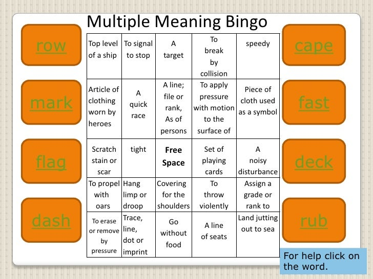 Multiple Meaning Words Flashcards Worksheets for all | Download ...