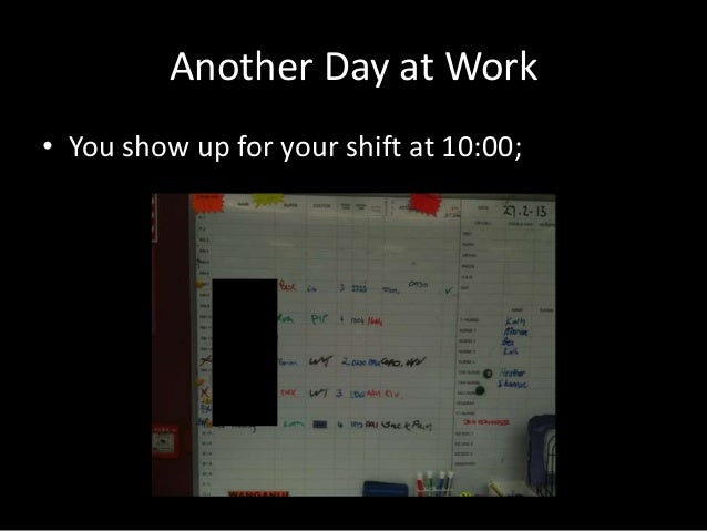 Another Day at Work • You show up for your shift at 10:00;