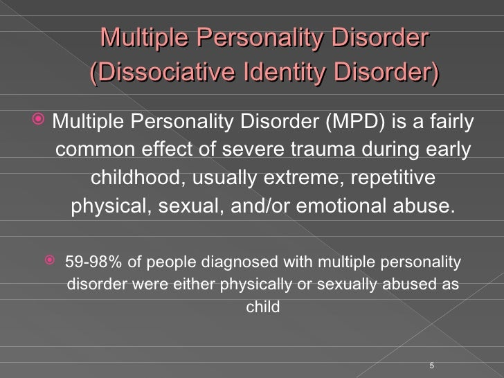 multiple personality disorder essays View and download multiple personality disorder essays examples also discover topics, titles, outlines, thesis statements, and conclusions for your multiple personality disorder essay.