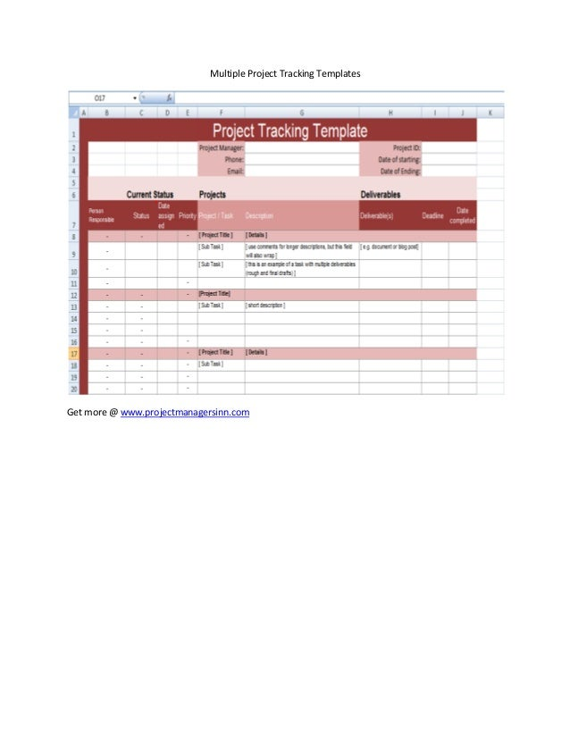 project deliverable template - multiple project tracking excel templates