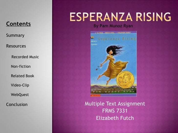 Multiple Text Assignment FRMS 7331 Elizabeth Futch By Pam Munoz Ryan Contents Summary Resources Recorded Music Non-fiction...