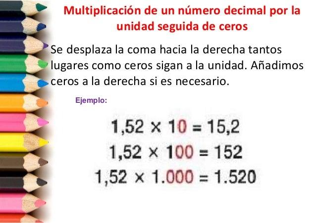 Image result for numeros decimales por la unidad seguida de ceros