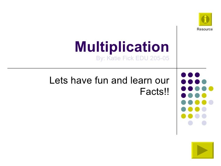 Multiplication By: Katie Fick EDU 205-05 Lets have fun and learn our Facts!! Resource