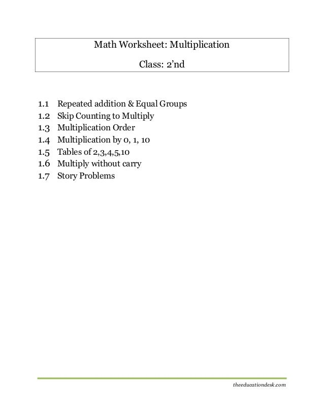 Maths Multiplication Worksheet CBSE Grade II – Maths Multiplication Worksheets for Class 2