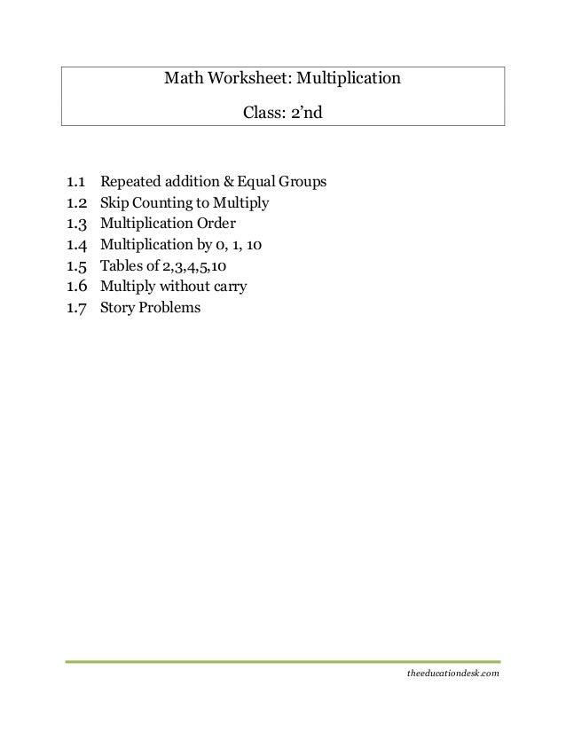 Maths Multiplication Worksheet CBSE Grade II – Equal Groups Multiplication Worksheets