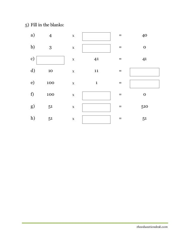 Maths Multiplication Worksheet CBSE Grade II – Fill in the Blanks Maths Worksheets