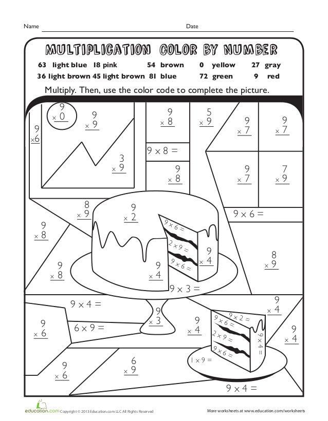 multiplication color number cake. Black Bedroom Furniture Sets. Home Design Ideas