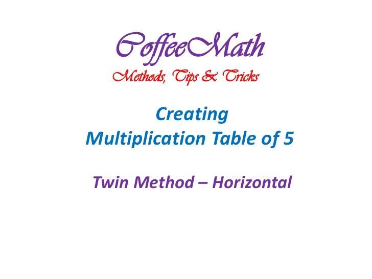 CoffeeMath   Methods, Tips & Tricks        CreatingMultiplication Table of 5Twin Method – Horizontal