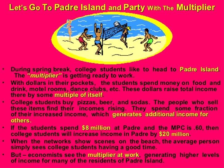 L et's  G o  T o  Padre Island  and  Party  With The  Multiplier <ul><li>During spring break,  college  students  like  to...