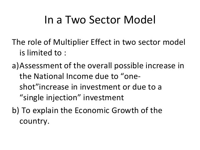 In a Two Sector Model The role of Multiplier Effect in two sector model is limited to : a)Assessment of the overall possib...