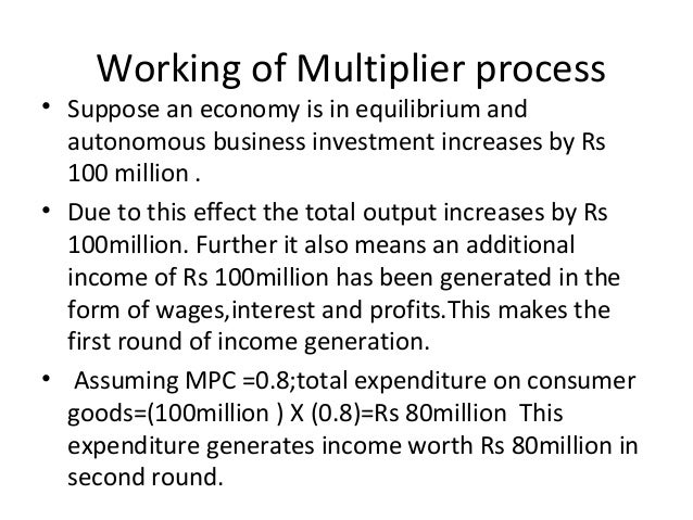 Working of Multiplier process • Suppose an economy is in equilibrium and autonomous business investment increases by Rs 10...
