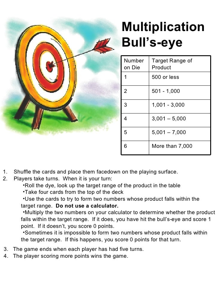 Multiplication Bull's-eye <ul><li>Shuffle the cards and place them facedown on the playing surface. </li></ul><ul><li>Play...