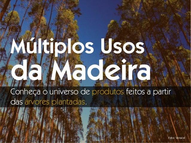 Foto: Veracel Múltiplos Usos da Madeira Conheça o universo de produtos feitos a partir das árvores plantadas.