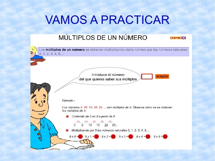 MÚLTIPLOS DE UN NÚMERO Definición :  Un número es múltiplo de otro  cuando lo contiene un número exacto de veces, es decir...