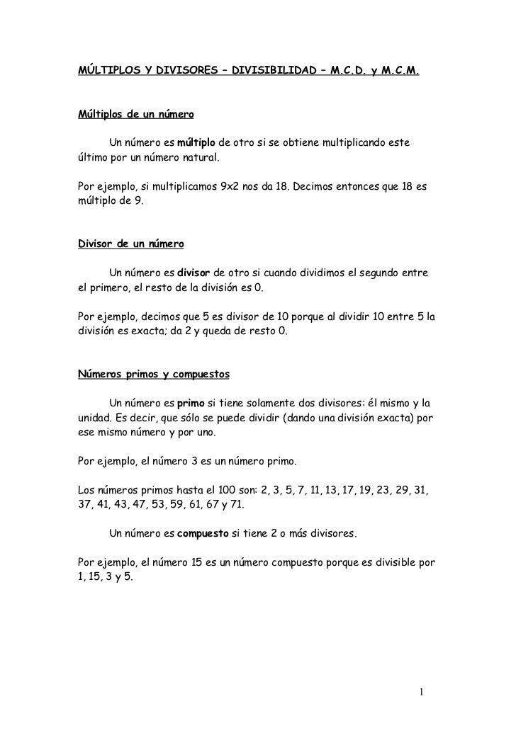 MÚLTIPLOS Y DIVISORES – DIVISIBILIDAD – M.C.D. y M.C.M.Múltiplos de un número      Un número es múltiplo de otro si se obt...