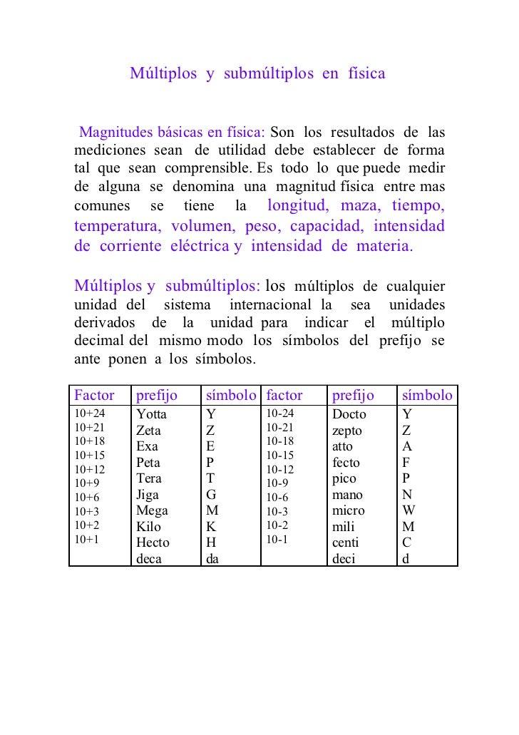 Múltiplos y submúltiplos en física Magnitudes básicas en física: Son los resultados de lasmediciones sean de utilidad debe...