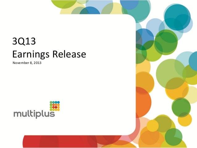 3Q13 Earnings Release November 8, 2013