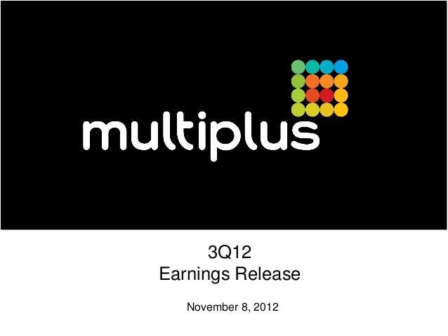 3Q12Earnings Release   November 8, 2012