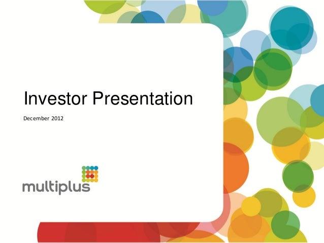Investor PresentationDecember 2012