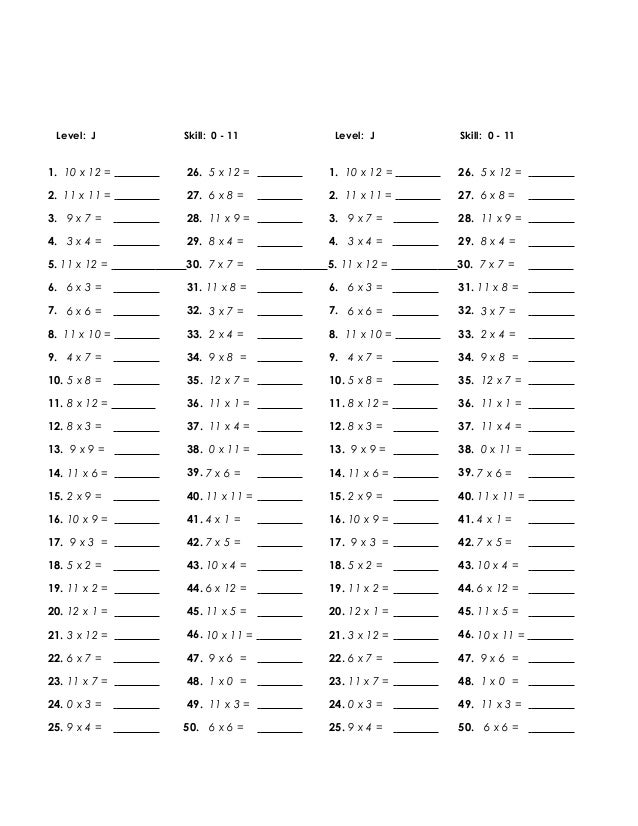 Printables Multiplying By 10 11 12 multiply quiz 0 11 level j skill 111