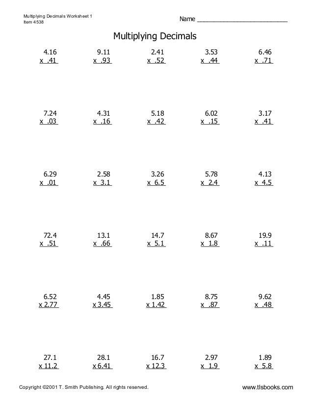 Multiplydecimals1 – Multiplying with Decimals Worksheet