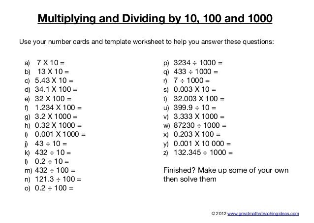 Multiplying anddividingby10100and1000 – Multiplication by 10 100 and 1000 Worksheets