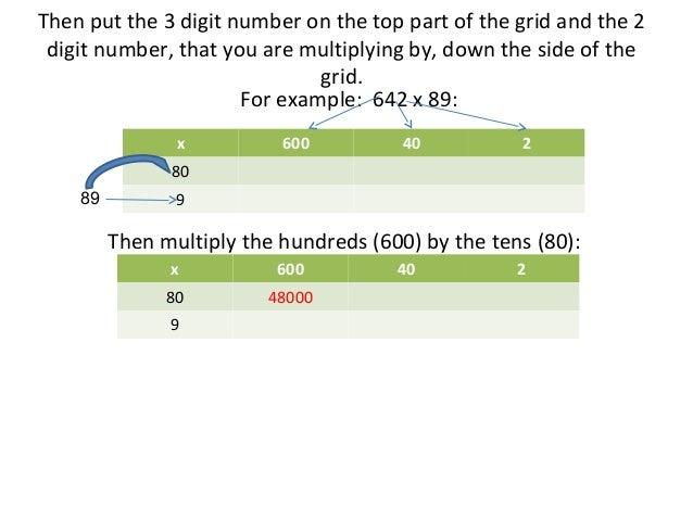 Number Names Worksheets multiply 3 digit by 2 digit : Multiplying a 3 Digit Number by a 2 Digit Number Using The Grid Method