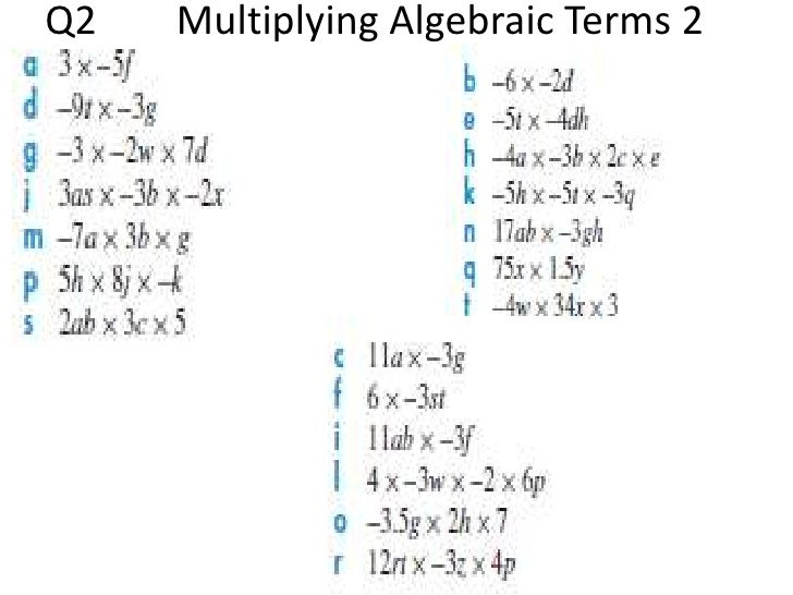 Multiplying Algebraic Terms
