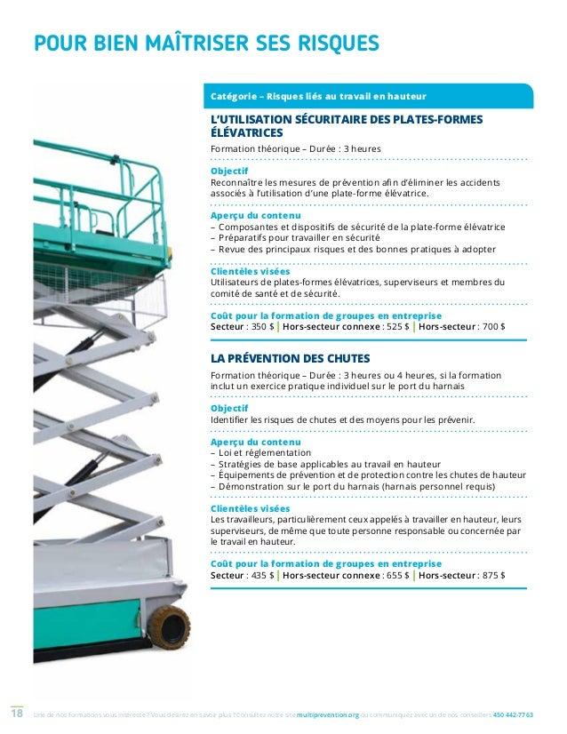 Catalogue de formations en sant et en s curit du travail - Formation travail en hauteur port du harnais ...