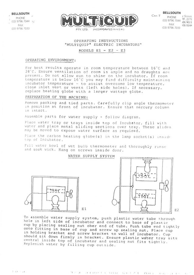 Multiquip E1, E2 and E3 manual old product not available from bellsouth