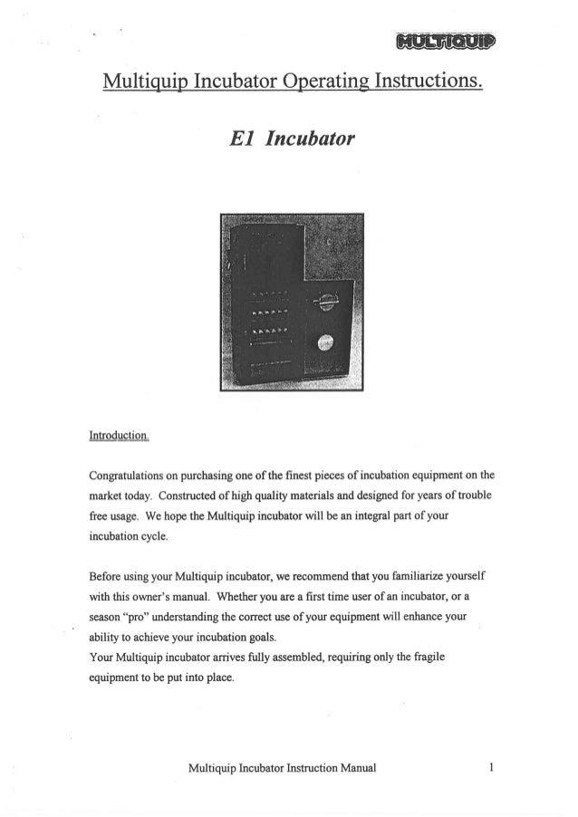 Multiquip E1 Incubator manual old product no longer available