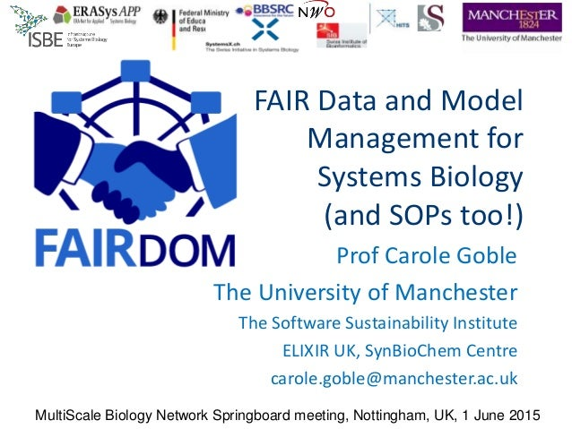 FAIR Data and Model Management for Systems Biology (and SOPs too!) Prof Carole Goble The University of Manchester The Soft...