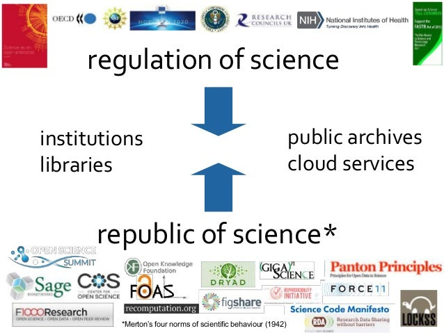 republic of science* regulation of science institutions libraries *Merton's four norms of scientific behaviour (1942) publ...