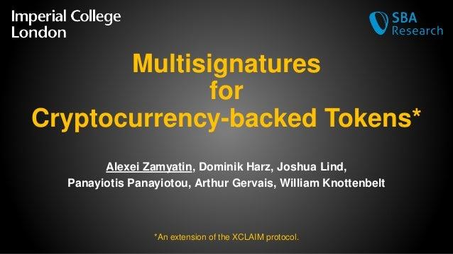 Multisignatures for Cryptocurrency-backed Tokens* Alexei Zamyatin, Dominik Harz, Joshua Lind, Panayiotis Panayiotou, Arthu...