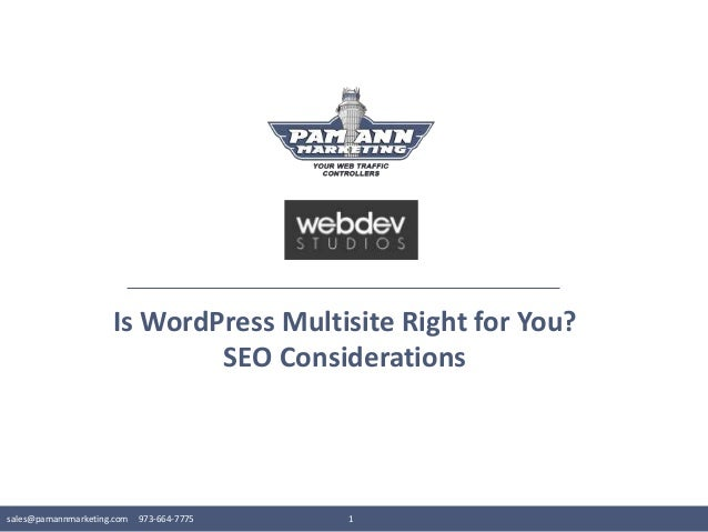 sales@pamannmarketing.com 973-664-7775 1 Is WordPress Multisite Right for You? SEO Considerations