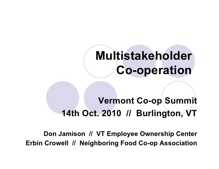 Multistakeholder                       Co-operation                   Vermont Co-op Summit          14th Oct. 2010 // Burl...